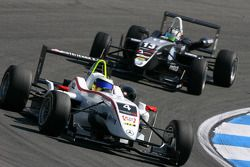 Carlos Munoz, Mücke Motorsport, Dallara F308 Mercedes, leads Antonio Felix da Costa, Motopark Academy, Dallara F308 Volkswagen