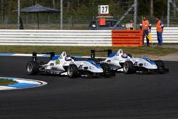 Marco Wittmann, Signature, Dallara F308 Volkswagen going first in the corner before Edoardo Mortara,