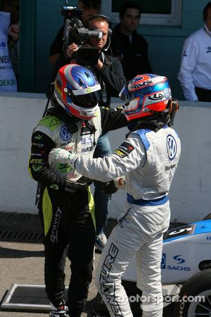 Marco Wittmann, Signature, and Edoardo Mortara, Signature congratulate each other with a 1-2 victory