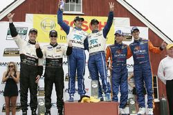 DP podium: class and overall winners Scott Pruett and Memo Rojas, second place Burt Frisselle and Mark Wilkins, third place Max Angelelli and Ricky Taylor