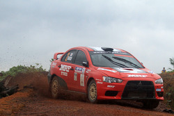 Katsu Taguchi with co-driver Mark Stacey of MRF Tyres