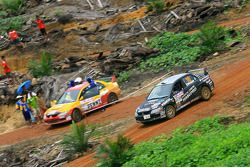 Tomohide Hasegawa met corijder Nobuyoshi Hara, Hasepro World Rally Team