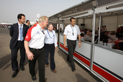 Jonathan Palmer CEO MotorSport Vision, guides Jean Todt, President de la FIA, through the Formula Two paddock