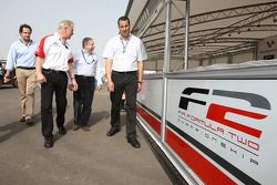 Jonathan Palmer CEO MotorSport Vision, guides Jean Todt, FIA President, through the Formula Two paddock