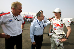 Jonathan Palmer CEO MotorSport Vision, introduces Jean Todt, FIA President, to Ivan Samarin