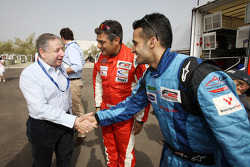 Jean Todt, FIA President, to Ajith Kumar and Armaan Ebrahim