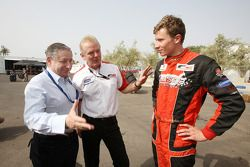 Jonathan Palmer CEO MotorSport Vision, centre, introduces Jean Todt, FIA President, left, to Kazim V