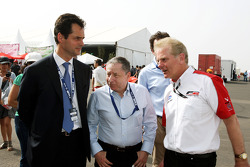 Jacques Raynaud Eurosport Director; Jonathan Palmer CEO MotorSport Vision, and Jean Todt, FIA President, in the Formula Two paddock