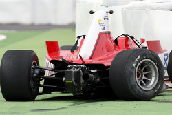 la voiture accidentée de Johan Jokinen
