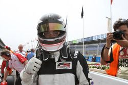 Philipp Eng, celebrates his second place in parc ferme