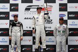 Race 1 podium and results: 1st Dean Stoneman, centre 2nd Philipp Eng, left 3rd Kelvin Snoeks, right