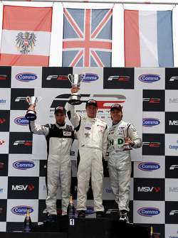 Race 1 podium and results: 1st Dean Stoneman, centre 2nd Philipp Eng, left 3rd Kelvin Snoeks, right