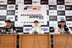 Race 1 press conference and results: 1st Dean Stoneman, centre 2nd Philipp Eng, left 3rd Kelvin Snoe