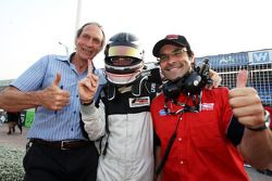 Philipp Eng celebrates his pole position for race 2 with Humphrey Corbett, left