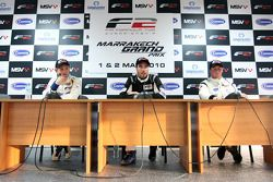 Qualifying 2 press conference and results: Pole Position Philipp Eng, centre 2nd Dean Stoneman, right 3rd Johan Jokinen, left