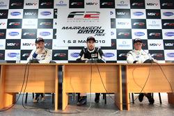 Qualifications 2 conférence de presse et résultats: Pole Position Philipp Eng, centre 2nd Dean Stoneman, droite 3rd Johan Jokinen, gauche