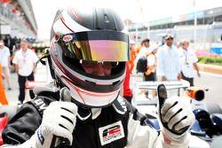 Race winner Philipp Eng celebrates in Parc Ferme