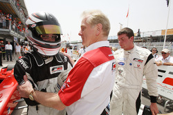 Philipp Eng celebrates his win in parc ferme with Jonathan Palmer CEO MotorSport Vision