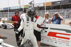Dean Stoneman celebrates second place in Parc Ferme