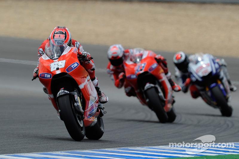 2010: Nicky Hayden, Casey Stoner y Jorge Lorenzo