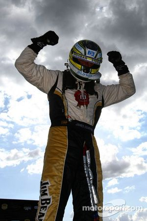 James Courtney celebrates after taking out back to back race wins at the Ipswich 300