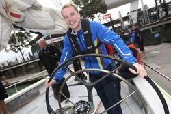 Jari-Matti Latvala gets behind the wheel of one of the America's Cup racing yachts