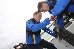 Jari-Matti Latvala and co-driver Miikka Anttila get to work on the Ford v Citroën boat race