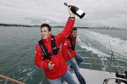 Daniel Sordo celebrates with a bottle of Champagne