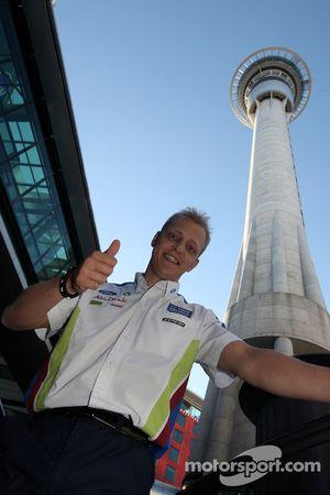 Mikko Hirvonen at the foot of Sky Tower