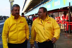 Pirelli staff in the pit lane