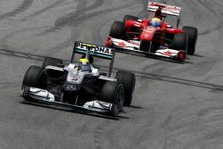 Nico Rosberg, Mercedes GP Petronas leads Felipe Massa, Scuderia Ferrari
