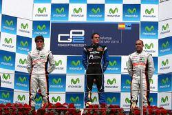 Podium: winnaar Fabio Leimer, 2de Luiz Razia, 3de Pastor Maldonado