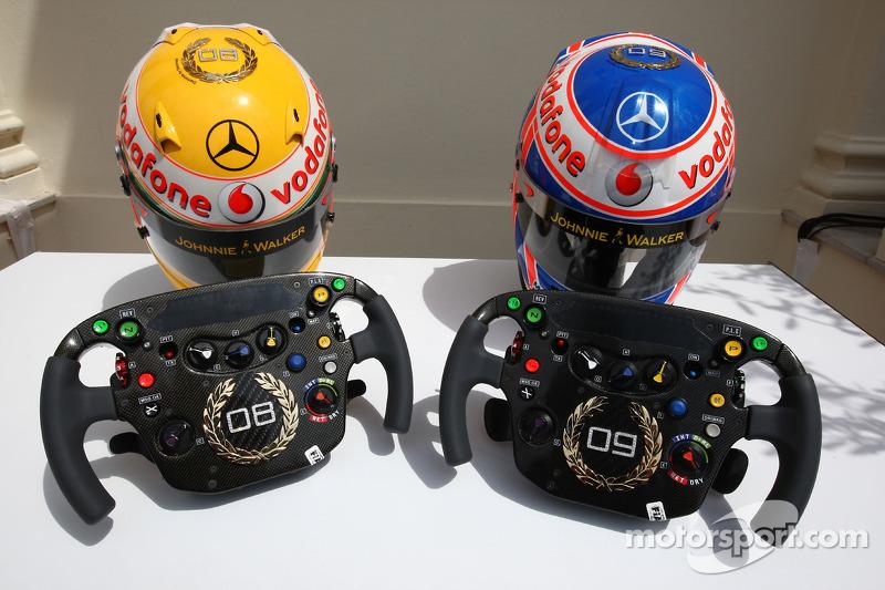 Lewis Hamilton, McLaren Mercedes, Jenson Button, McLaren Mercedes, Monaco cascos y volantes con Steinmetz Diamonds