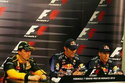 Conférence de presse d'après qualifications : Pole position for Mark Webber, Red Bull Racing, second Robert Kubica, Renault F1 Team, troisième Sebastian Vettel, Red Bull Racing