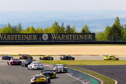#1 Manthey Racing Porsche GT3 R: Marc Lieb, Timo Bernhard, Romain Dumas, Marcel Tiemann leads the fi