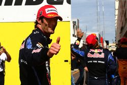 Première place Mark Webber, Red Bull Racing et Sebastian Vettel, Red Bull Racing