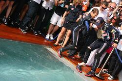 2. Sebastian Vettel, Red Bull Racing tries to push Mark Webber, Red Bull Racing