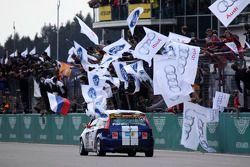 #210 Ford Fiesta ST: Ralph Caba, Volker Lange, Oliver Sprungmann, Karsten Foese after the finish line