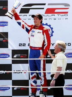 Podium: race winner Jolyon Palmer