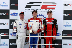 Podium: race winner Jolyon Palmer, second place Dean Stoneman, third place Kazim Vasiliauskas