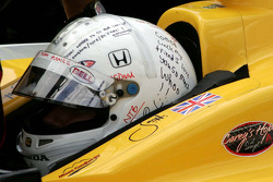 Personalized messages on the helmet of Jay Howard, Sarah Fisher Racing