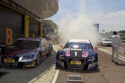vainqueur Mattias Ekström, Audi Sport Team Abt Audi A4 DTM fête son succès avec un burnout
