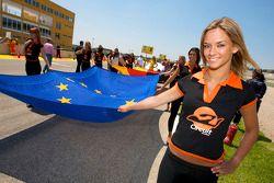 Очаровательная девушка с флагом