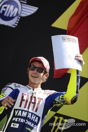 Podium: deuxième place pour Valentino Rossi, Fiat Yamaha Team