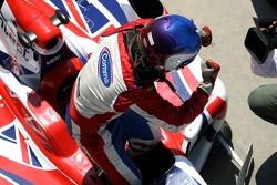 Race winner Jolyon Palmer celebrates