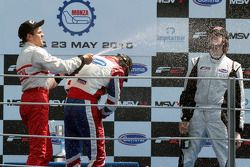 Podium: race winner Jolyon Palmer, second place Sergey Afanasiev, third place Will Bratt