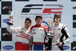 Podium: race winner Jolyon Palmer, second place Sergey Afanasiev, third place Will Bratt