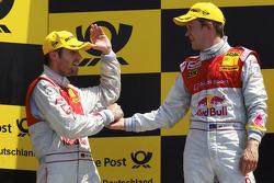 Podium: vainqueur Mattias Ekström, Audi Sport Team Abt fête son succès avec Martin Tomczyk, Audi Spo