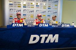 Conférence de presse d'après course :vainqueur Mattias Ekström, Audi Sport Team Abt, 2e Martin Tomczyk, Audi Sport Team Abt, 3e Bruno Spengler, Team HWA AMG Mercedes