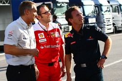 Martin Whitmarsh, McLaren, Chief Executive Officer with Stefano Domenicali Ferrari General Director and Christian Horner, Red Bull Racing, Sporting Director